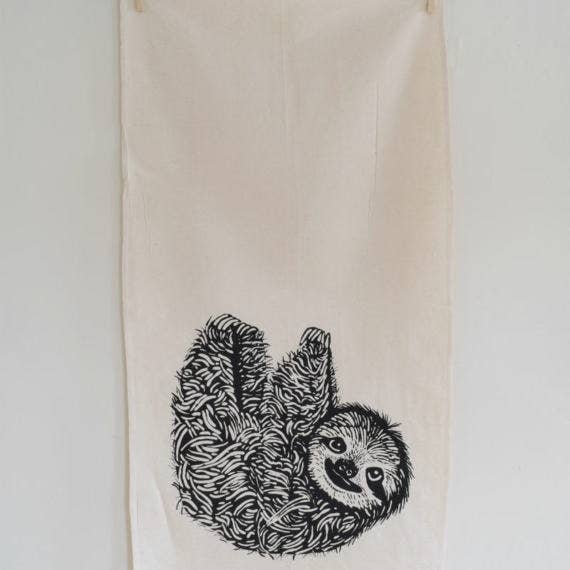 Sloth Tea Towel - Black