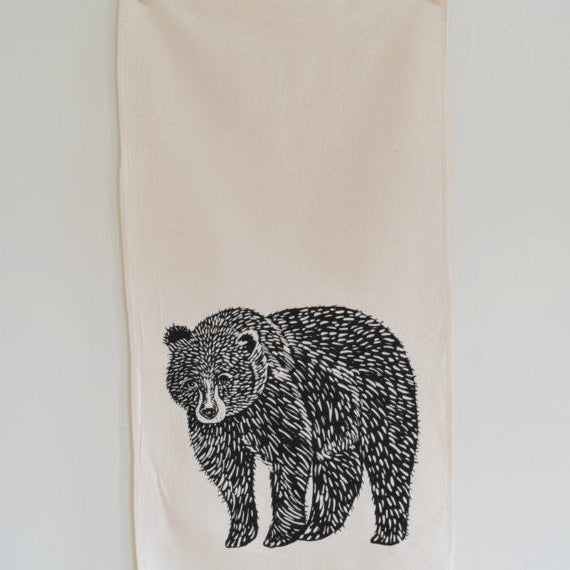 Bear Tree Tea Towel - Black