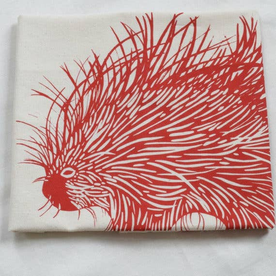 Porcupine Tea Towel - Red