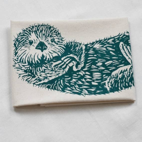 Otter Tea Towel - Green