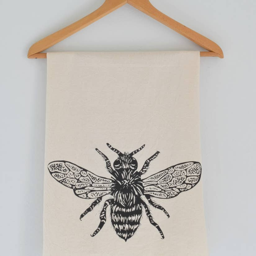 Honey Bee Tea Towel - Black