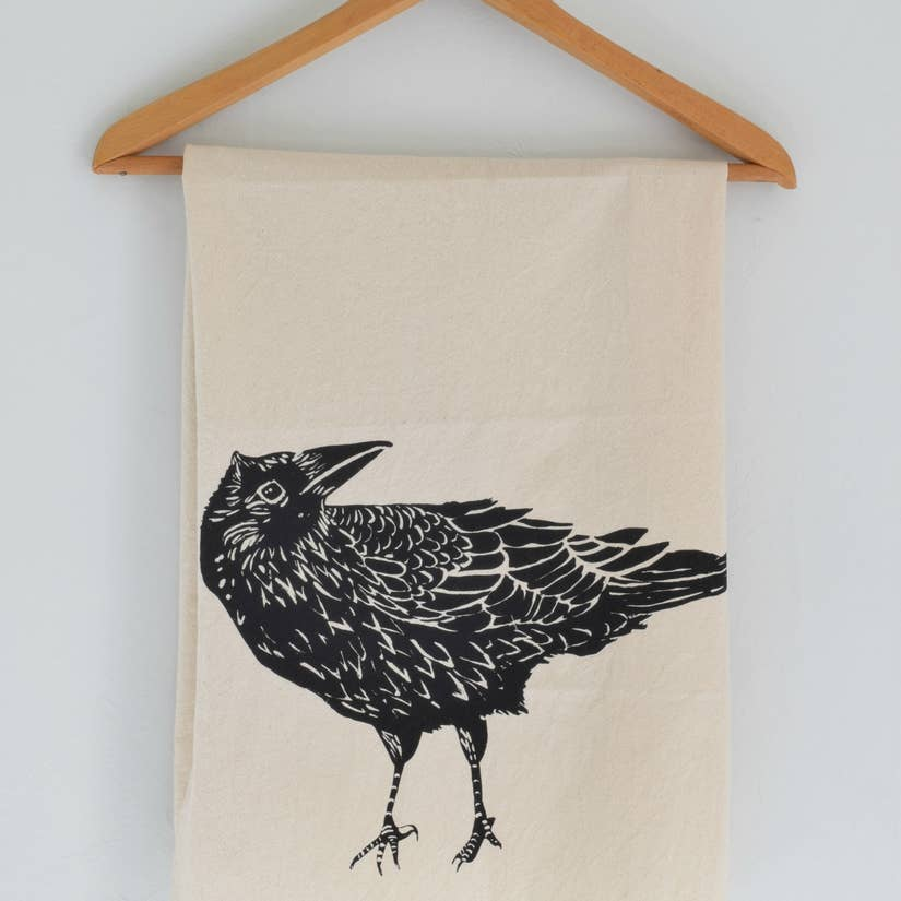 Crow Tea Towel - Black