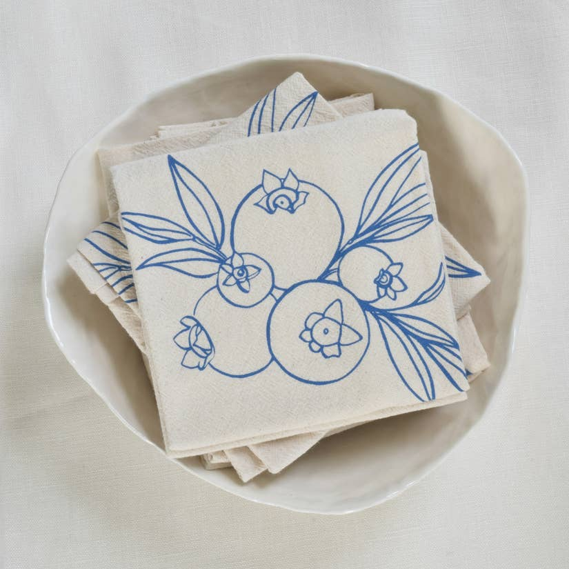 Organic Wild Blueberry Cloth Napkins Set of 4 - Blue-Violet