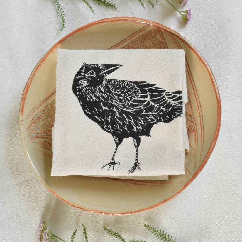 Organic Crow Cloth Napkins Set of 4 - Black