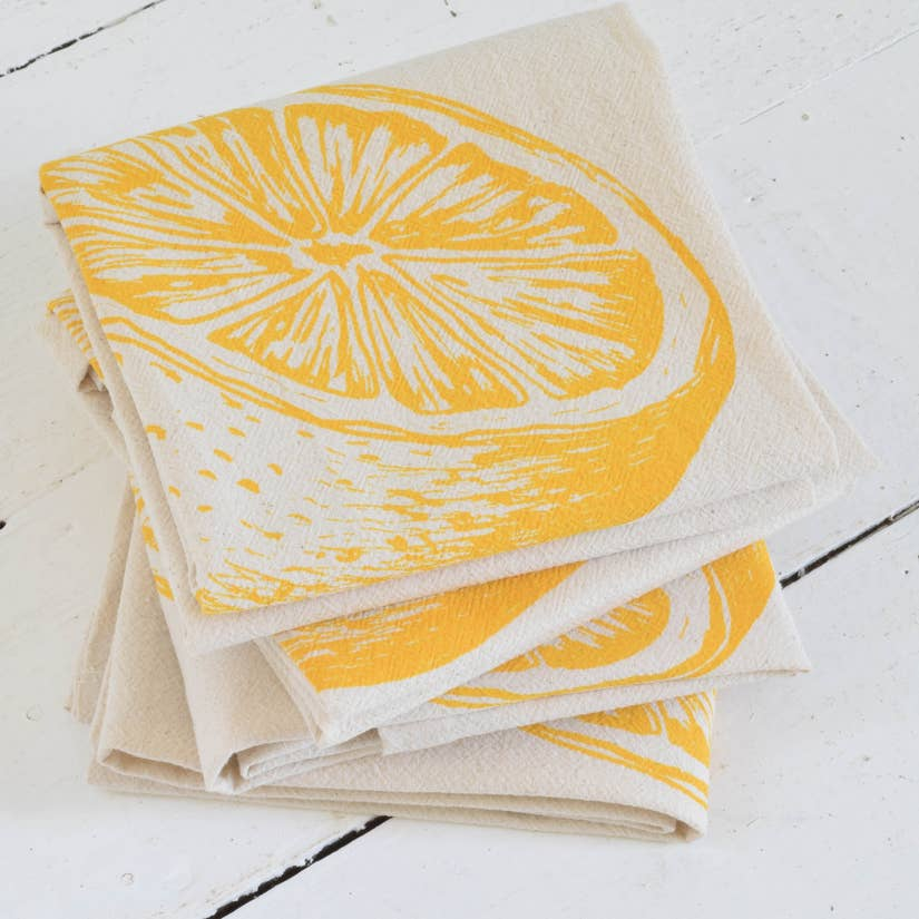 Organic Citrus Cloth Napkins Set of 4 - Yellow