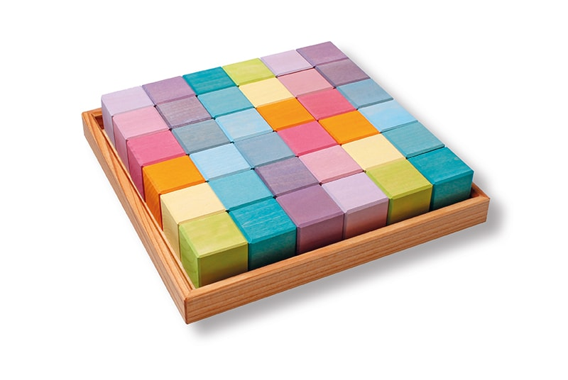 Building Set Pastel Squares 4x4 Blocks by Grimm's Organic Cotton Toddler Kids Clothes from Modern Rascals