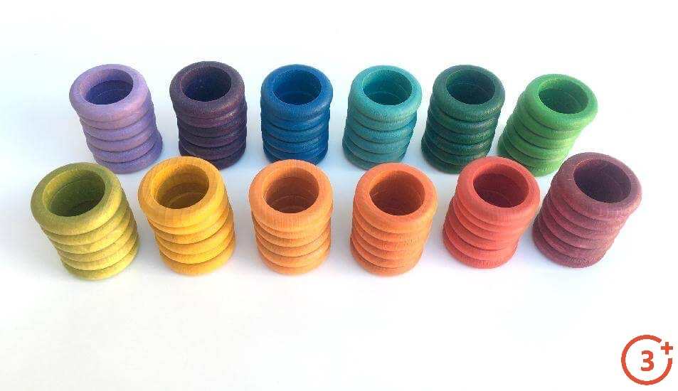 12 stacks of 6 rings each. Maroon, Red, Orange, Light Orange, Yellow, Yellow-Green, Green, Evergreen, Teal, Navy, Purple, Lilac.