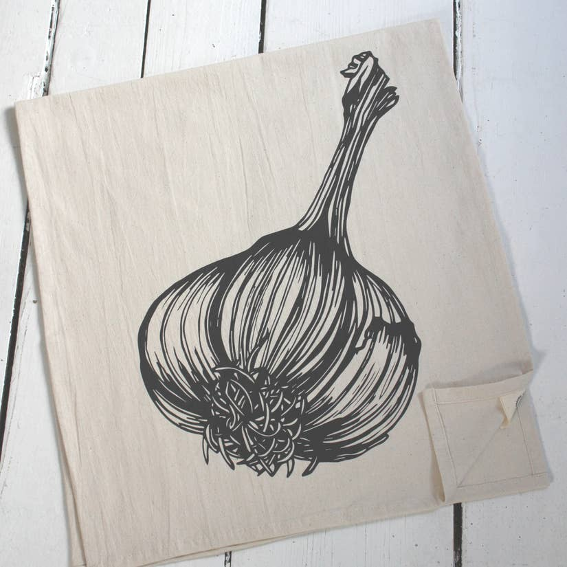 Garlic Tea Towel - Black