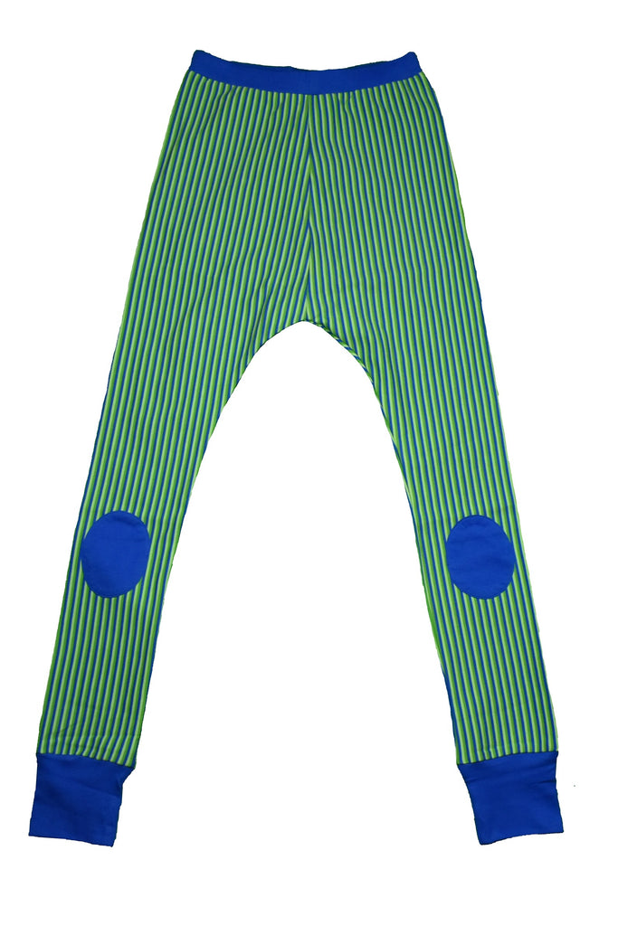 Blue Green Striped Baggy Pants