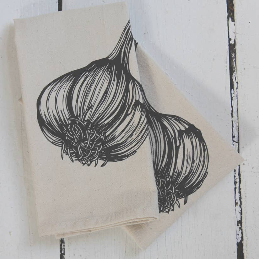 Organic Garlic Cloth Napkins Set of 4 - Black