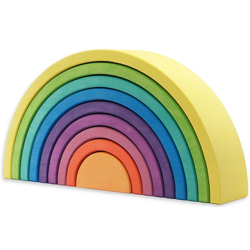 9pc arch tunnel largest piece yellow, green, teal, blue, dark purple, medium purple, pink, orange, light orange.