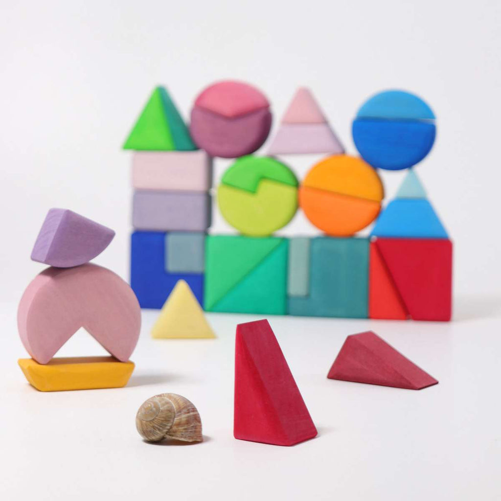 Triangle Square Circle Building Blocks - 30 Pieces