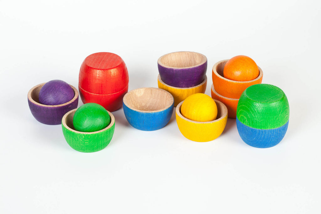 12 Wooden Bowls in 6 Colours with 6 Balls by Grapat Organic Cotton Toddler Kids Clothes from Modern Rascals