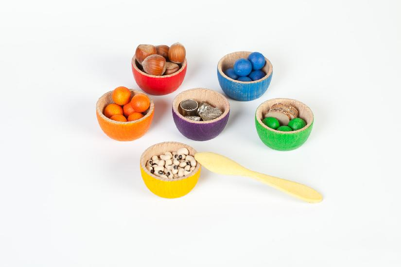 Wooden Bowls and Marbles with Tongs