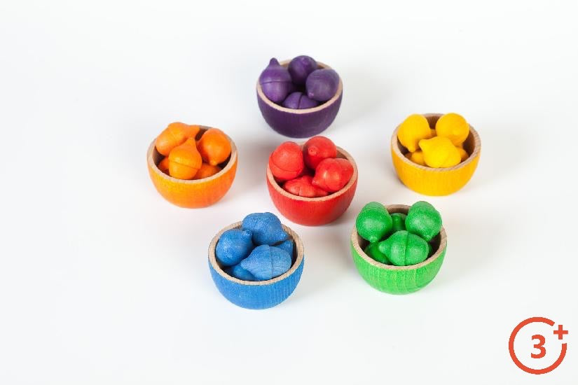 6 bowls with acorns inside. Rainbow colours of Red, Orange, Yellow, Green, Blue, Purple