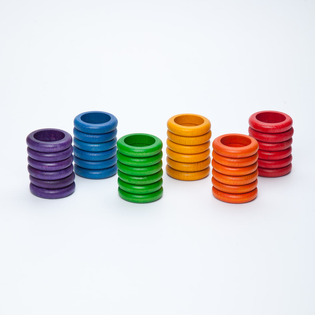 Coloured Rings - 36 pieces in 6 Rainbow Colours