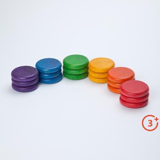 3 coins stacked of each colour. Purple, Blue, Green, Yellow, Orange and Red.