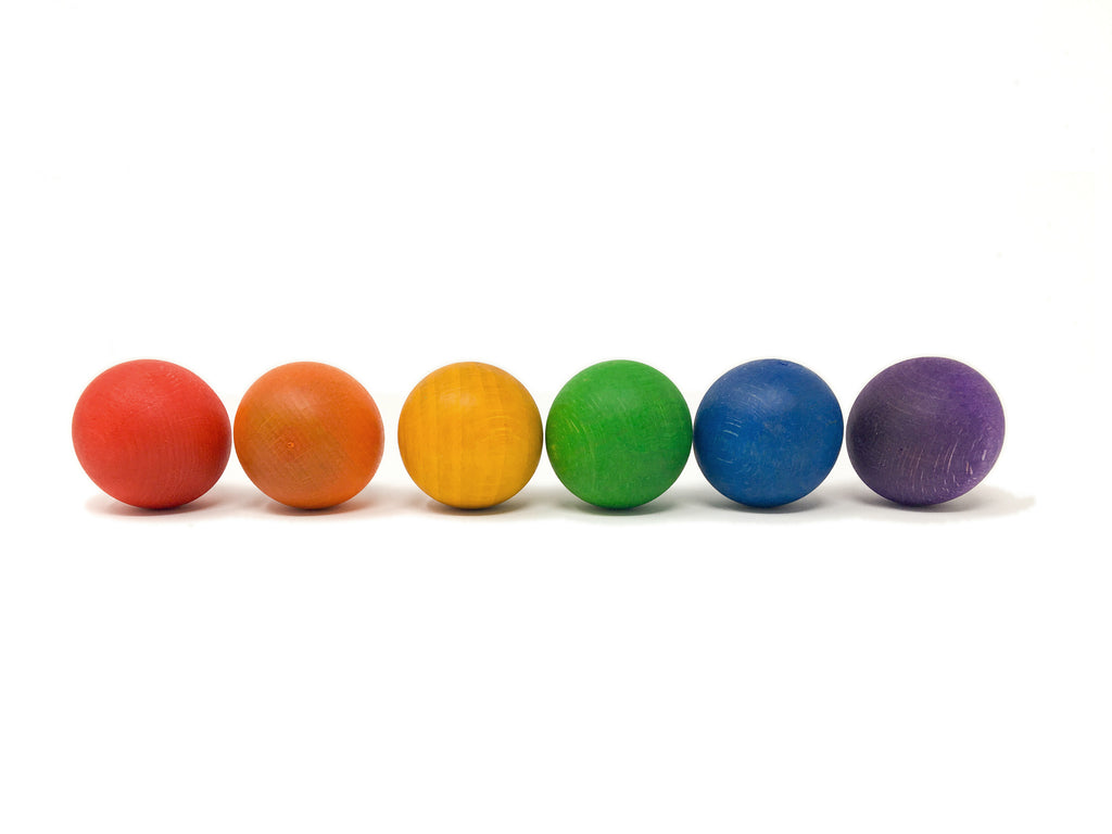 Coloured Wooden Balls - 6 pieces