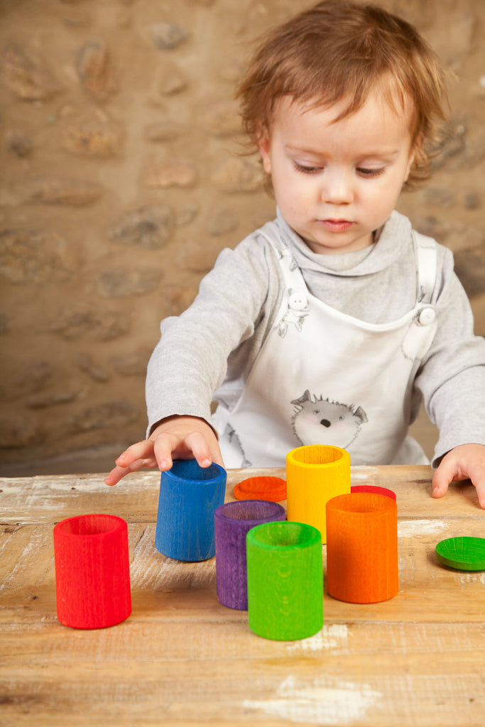 Coloured Cups with Lids - 6 pieces in 6 Rainbow Colours by Grapat Organic Cotton Toddler Kids Clothes from Modern Rascals