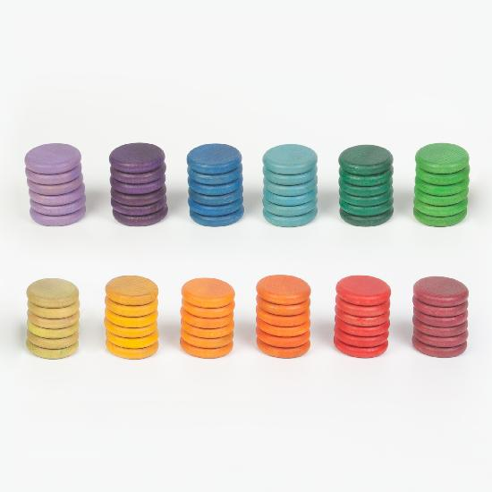 Coloured Coins - 72 pieces in 12 Colours by Grapat Organic Cotton Toddler Kids Clothes from Modern Rascals