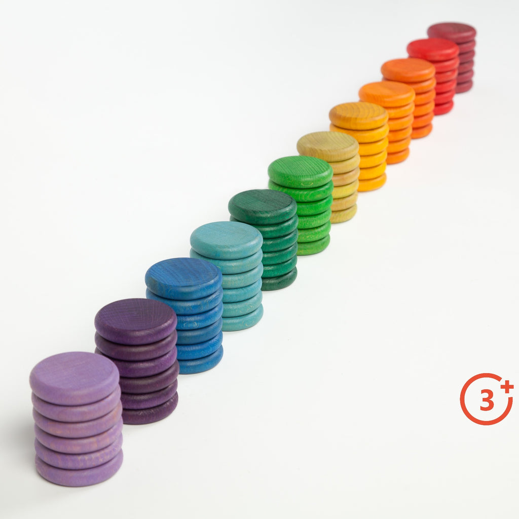 12 stacks of 6 coins in each colour. Maroon, Red, Orange, Light Orange, Yellow, Yellow-green, Green, Evergreen, Teal, Blue, Purple and Lilac.