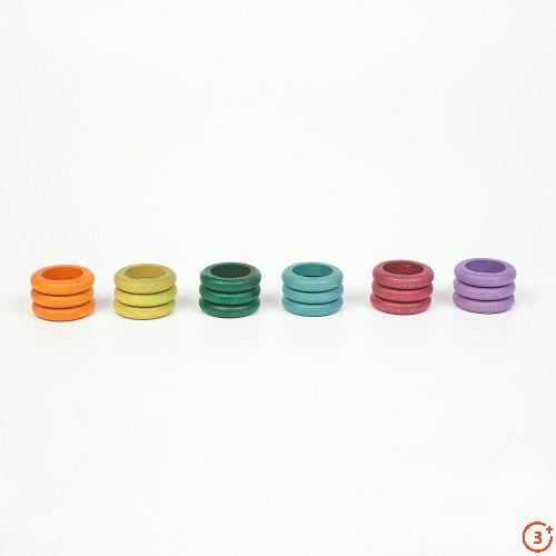 Coloured Rings - 18 pieces in 6 Non-Basic Colours