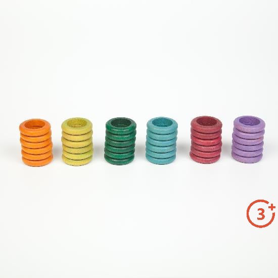6 stacks of 6 rings in each colour. Orange, Yellow-green, evergreen, teal, maroon, lilac.
