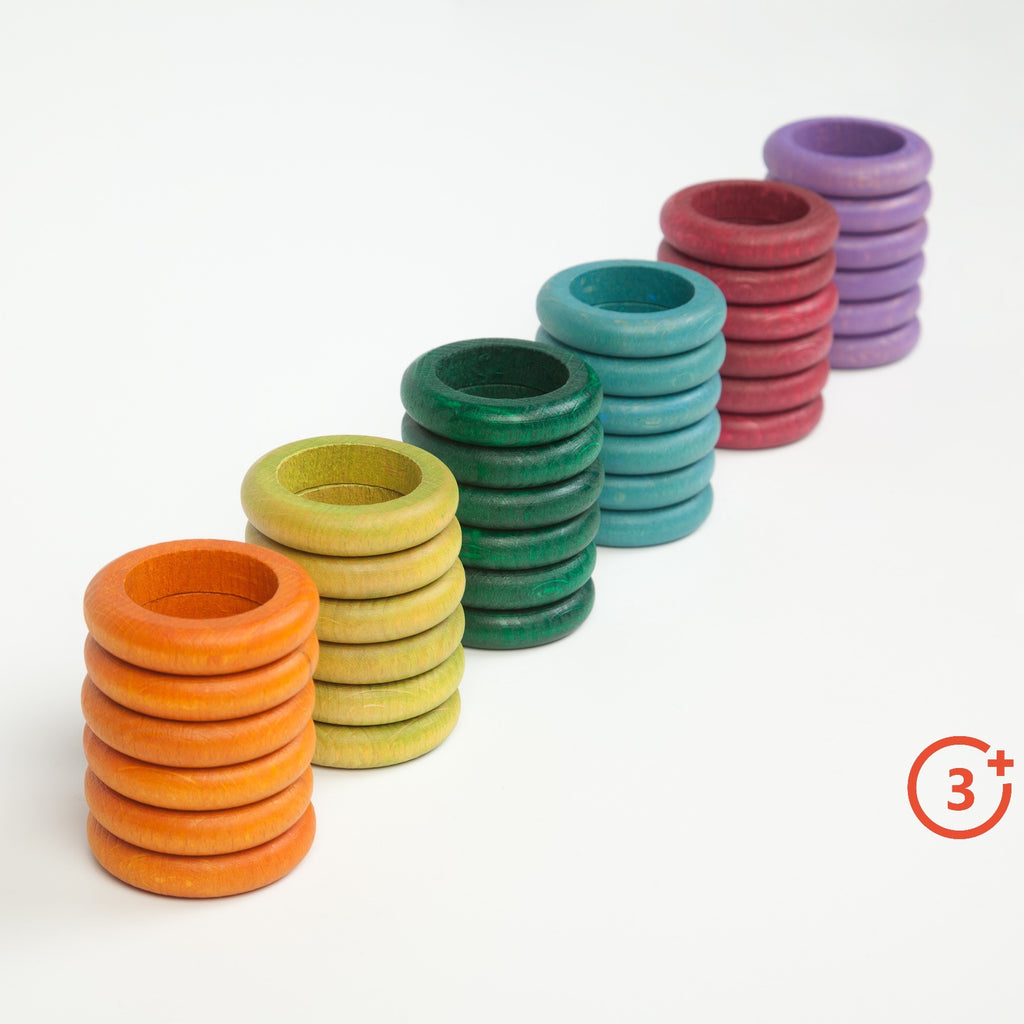 Coloured Rings - 36 pieces in 6 Non-Basic Colours