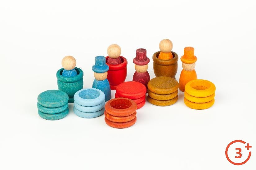 3 nins and 3 nins with top hats, 9 coins, 9 rings in Summer Colours of Dark yellow, Tan, Red, and Teal/Ocean Blue.