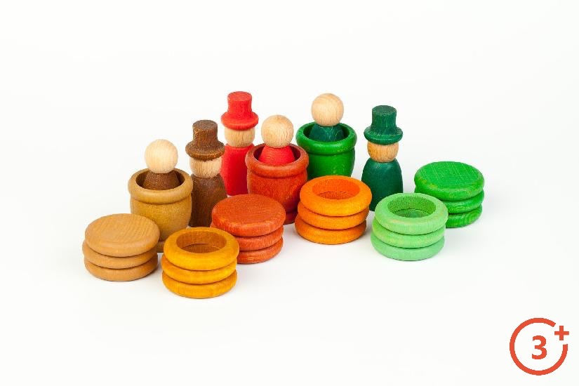 Nins, Coins, Rings and Mates - in tan, brown, red, burnt orange, red, light orange, evergreen and green and light green.