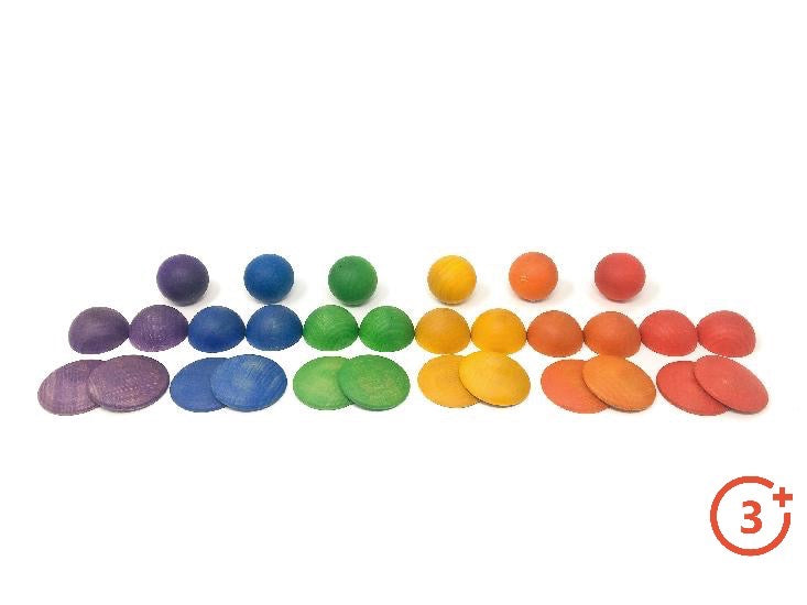 Spheres, Half Spheres, 1/4 sphere mounds in Red, Orange, Yellow, Green, Blue and Purple.
