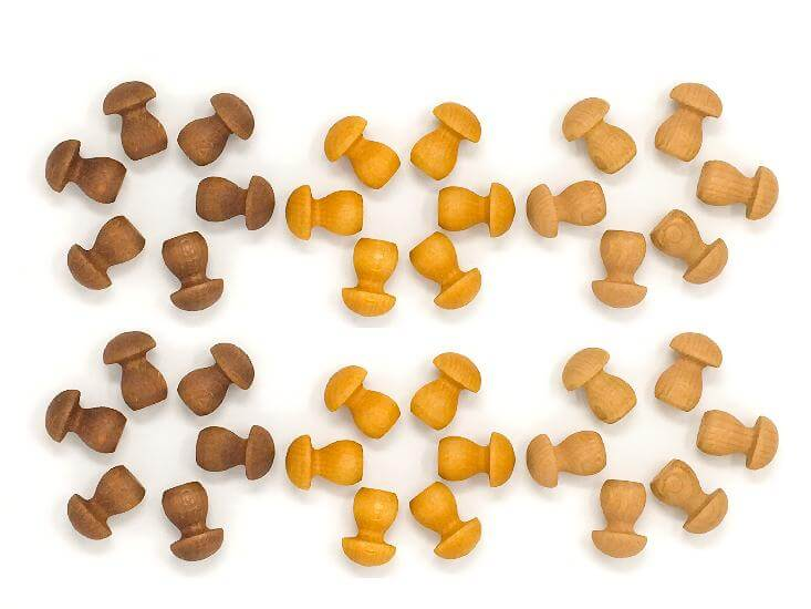 Mandala Mini Mushrooms - 36 pieces in Browns
