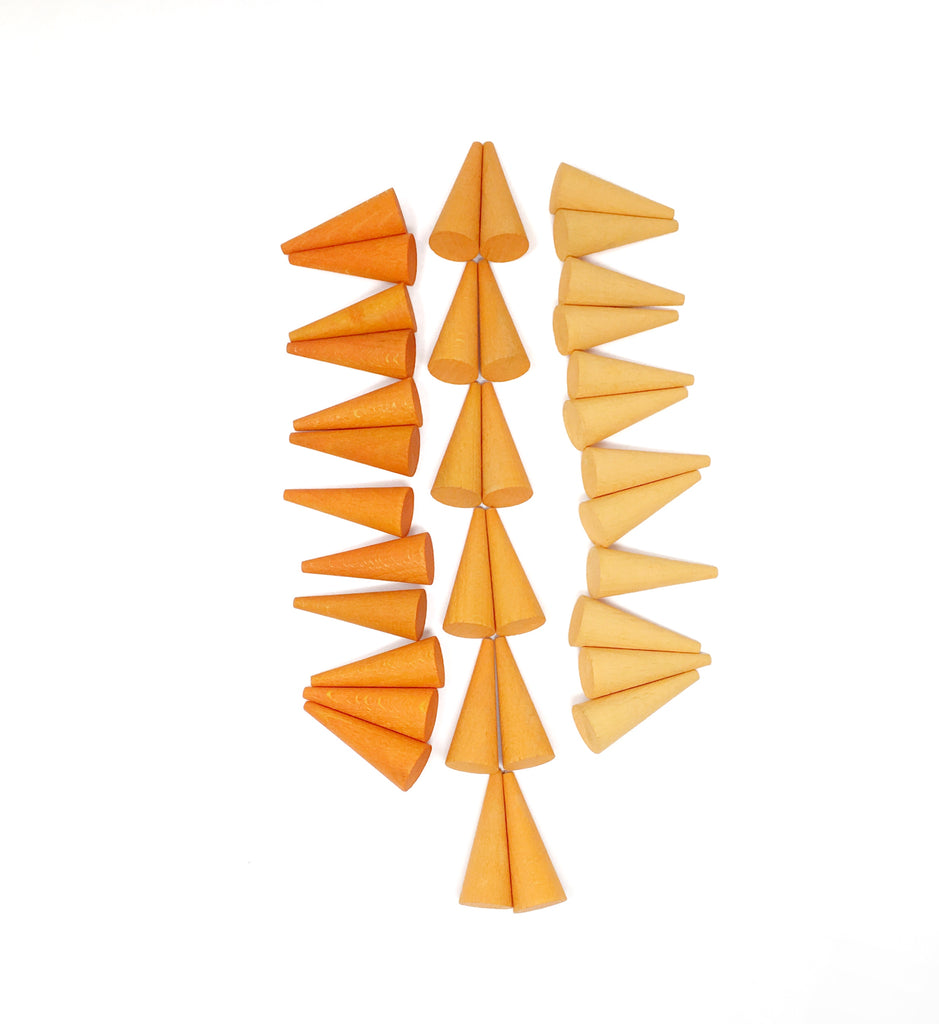 Mandala Mini Cones - 36 pieces in Oranges