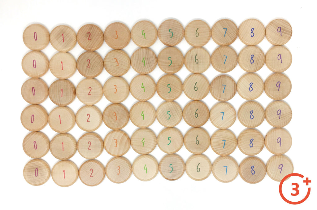 Natural wooden coins numbered with rainbow colours. 0 Maroon, 1 Red, 2 Dark Orange, 3 Dark Yellow, 4 Light Green, 5 Green, 6 Evergreen, 7 light blue, 8 dark blue, 9 purple. 6 of each number.