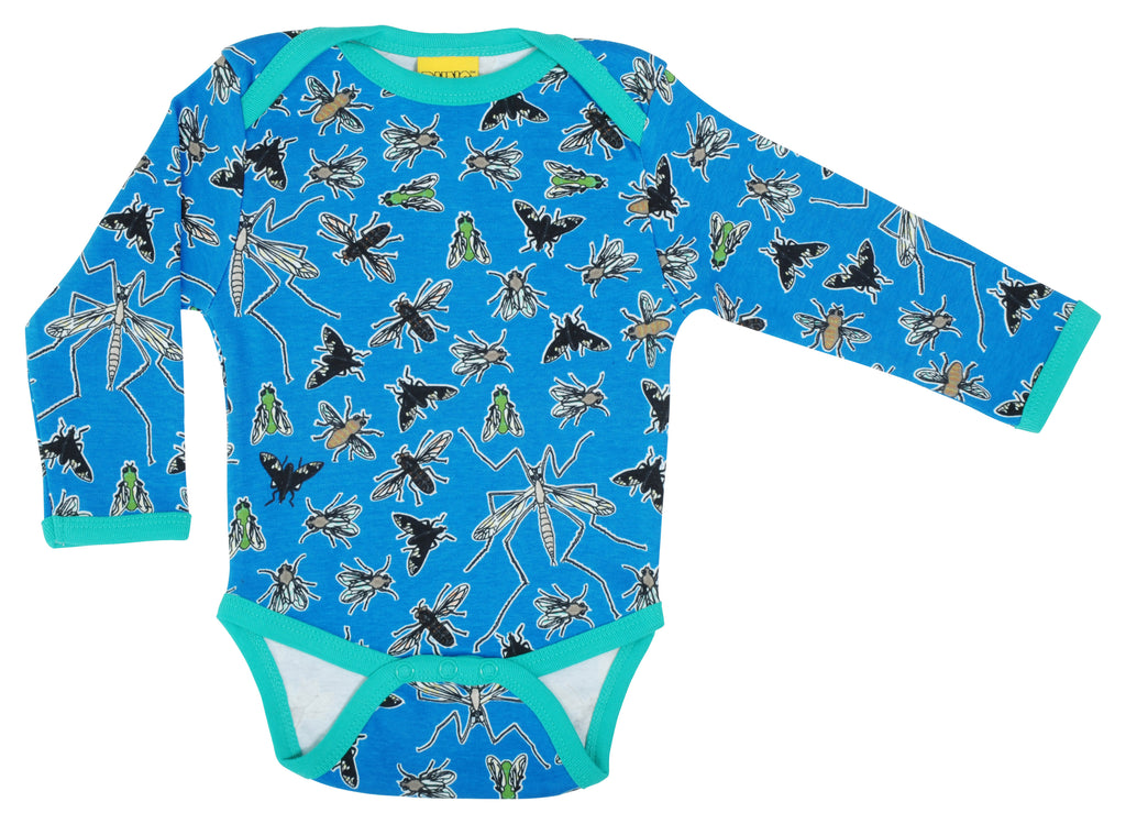 Flies Blue Long Sleeve Onesie