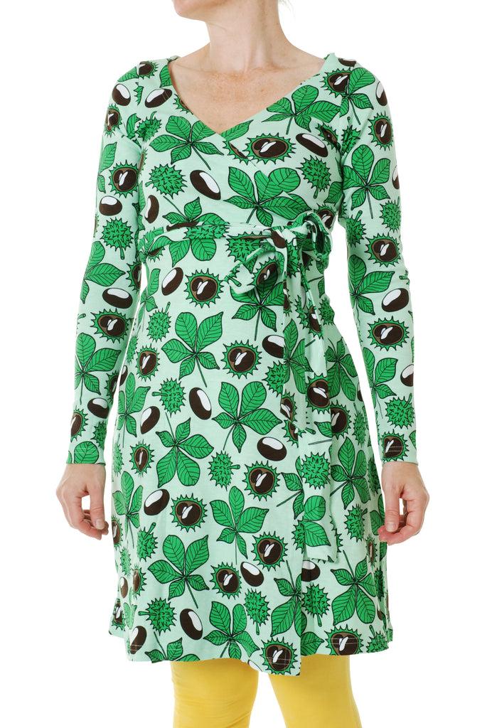 Adult's Chestnut Green Long Sleeve Wrap Dress