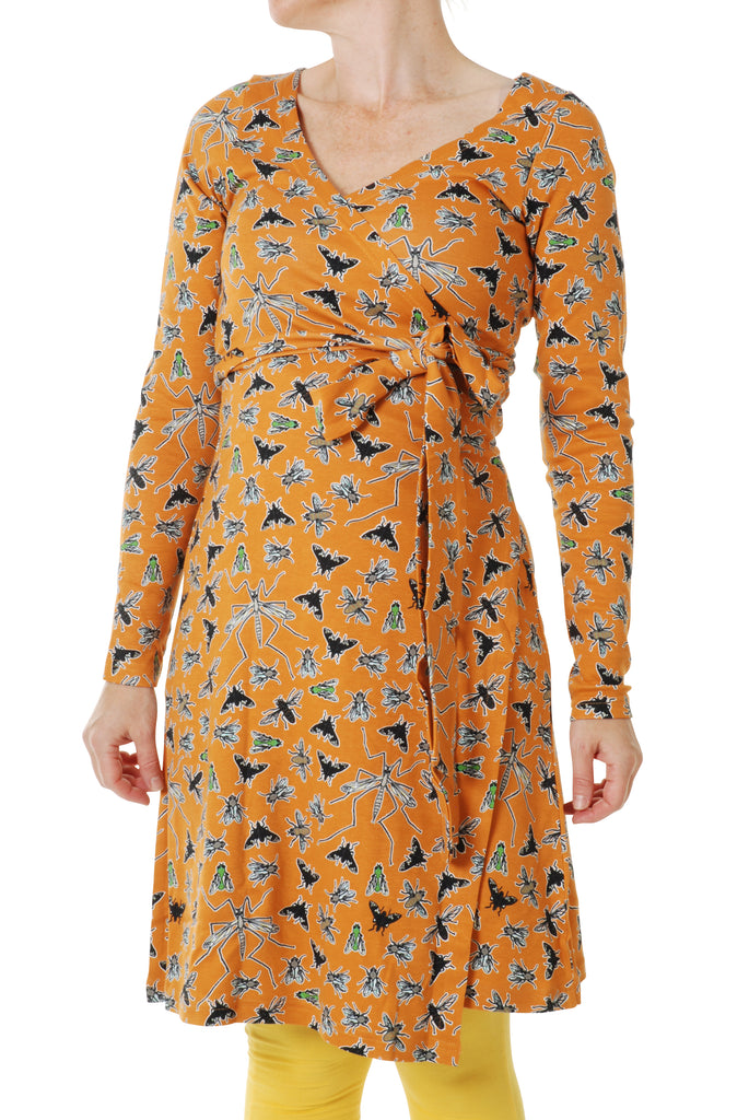 Adult's Flies Cheddar Long Sleeve Wrap Dress