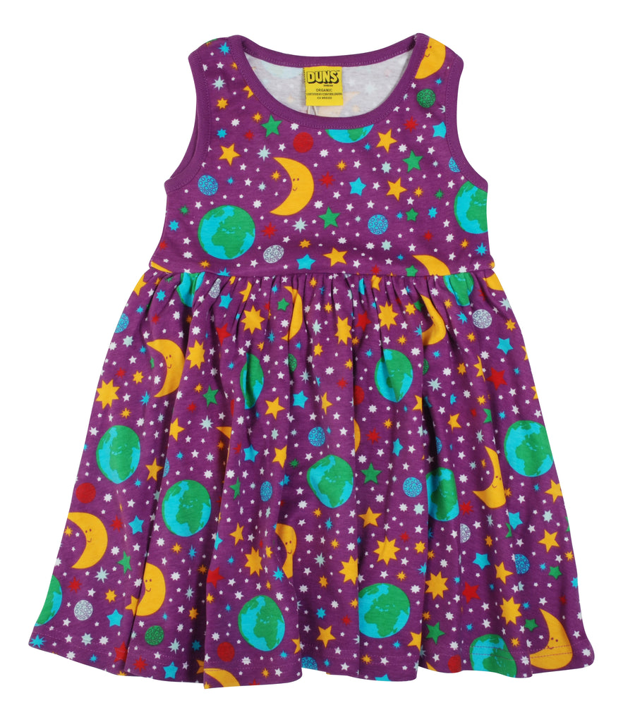 Mother Earth Violet Sleeveless Dress With Gathered Skirt