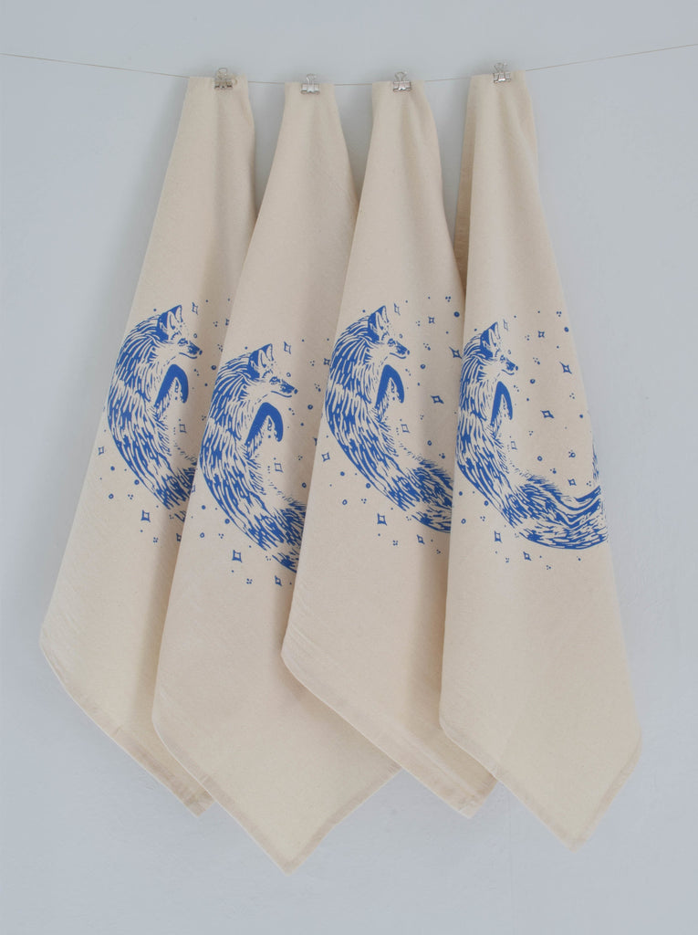 Organic Fox Cloth Napkins Set of 4 - Blue