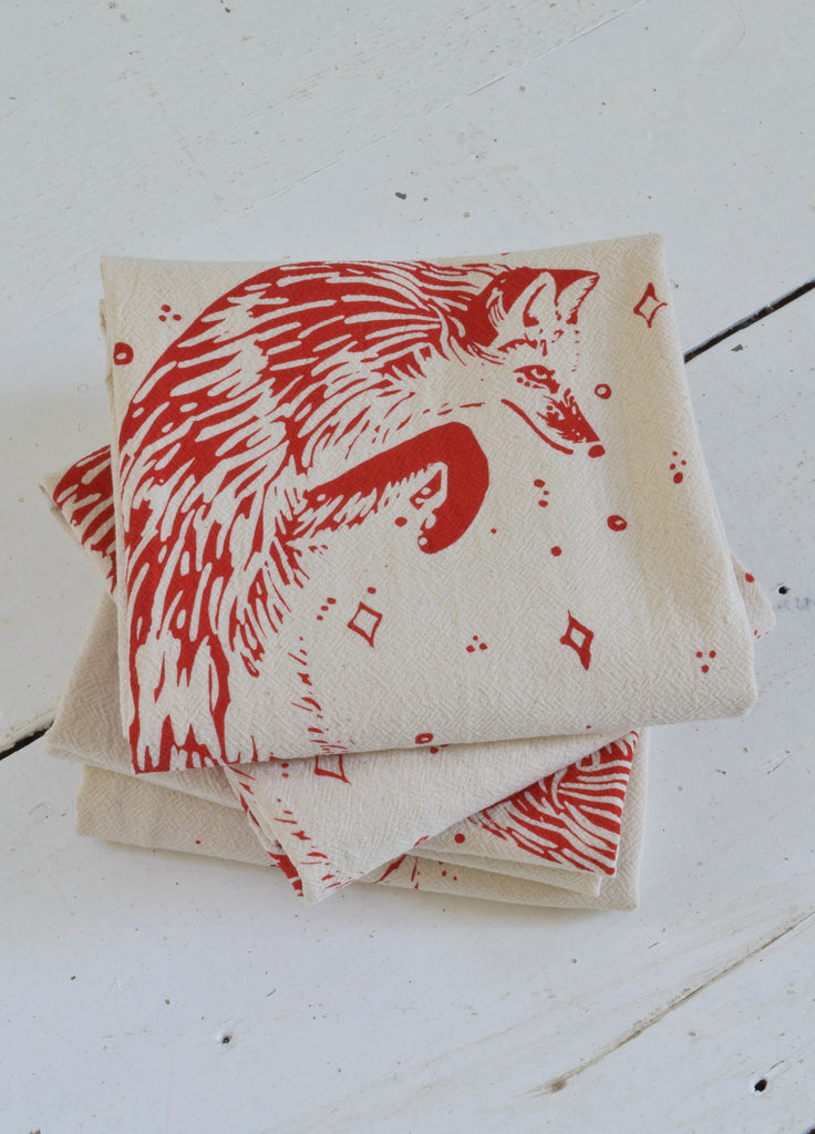 Organic Fox Cloth Napkins Set of 4 - Red