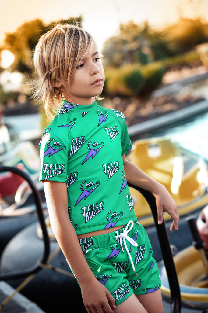 Green Jelly Alligator Swim Shorts - 2 Left Size 18-24 months & 8-9 years