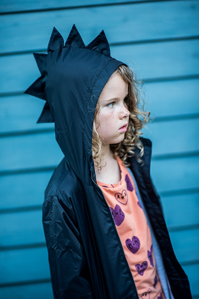Black Dino Woven Coat - Waterproof by KuKuKid Organic Cotton Toddler Kids Clothes from Modern Rascals
