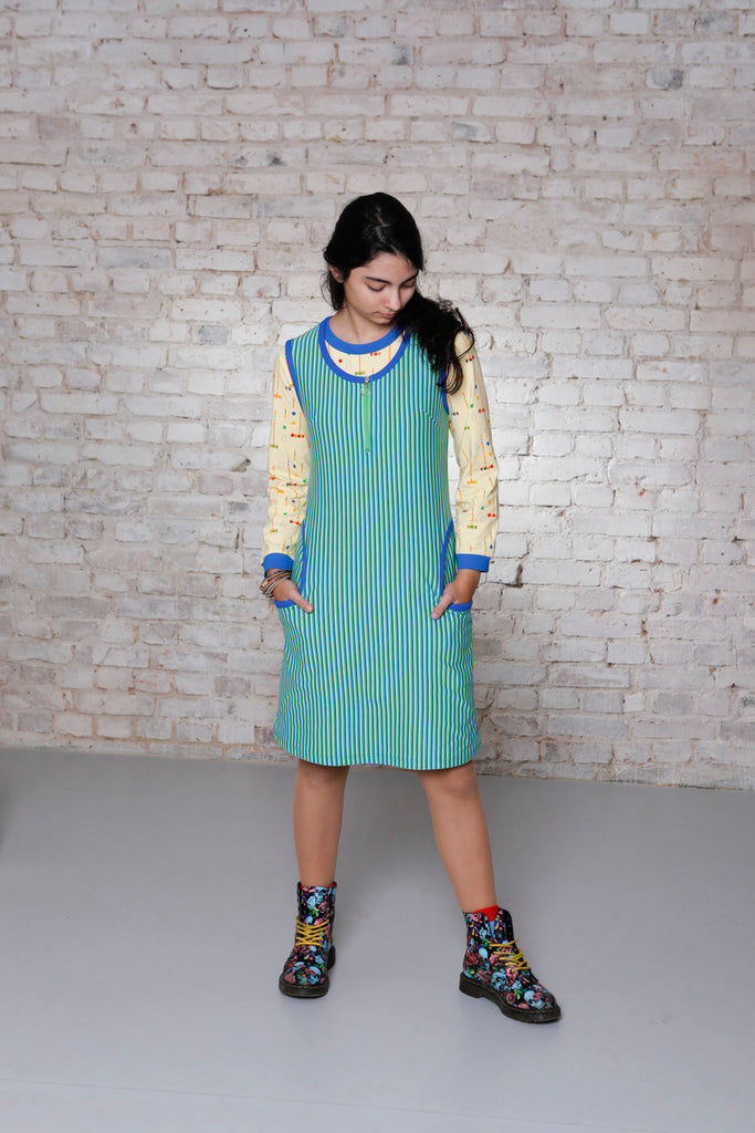 Adult's Blue Green Stripe Twiggy Dress