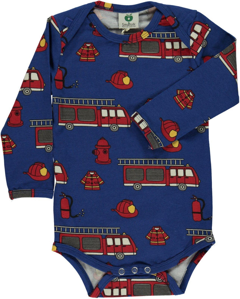 Fire Truck Long Sleeve Onesie by Smafolk Organic Cotton Toddler Kids Clothes from Modern Rascals