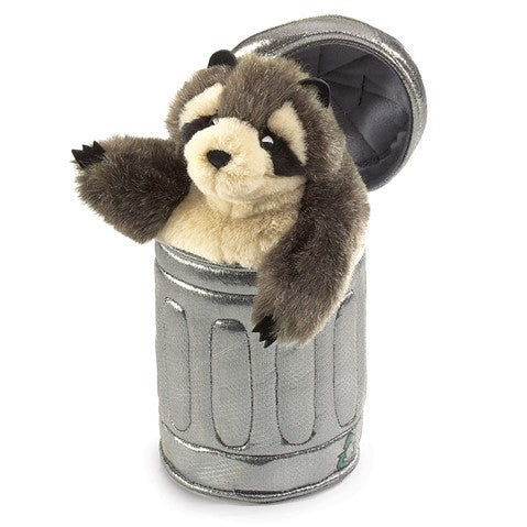 Raccoon in a Trash Can Hand Puppet