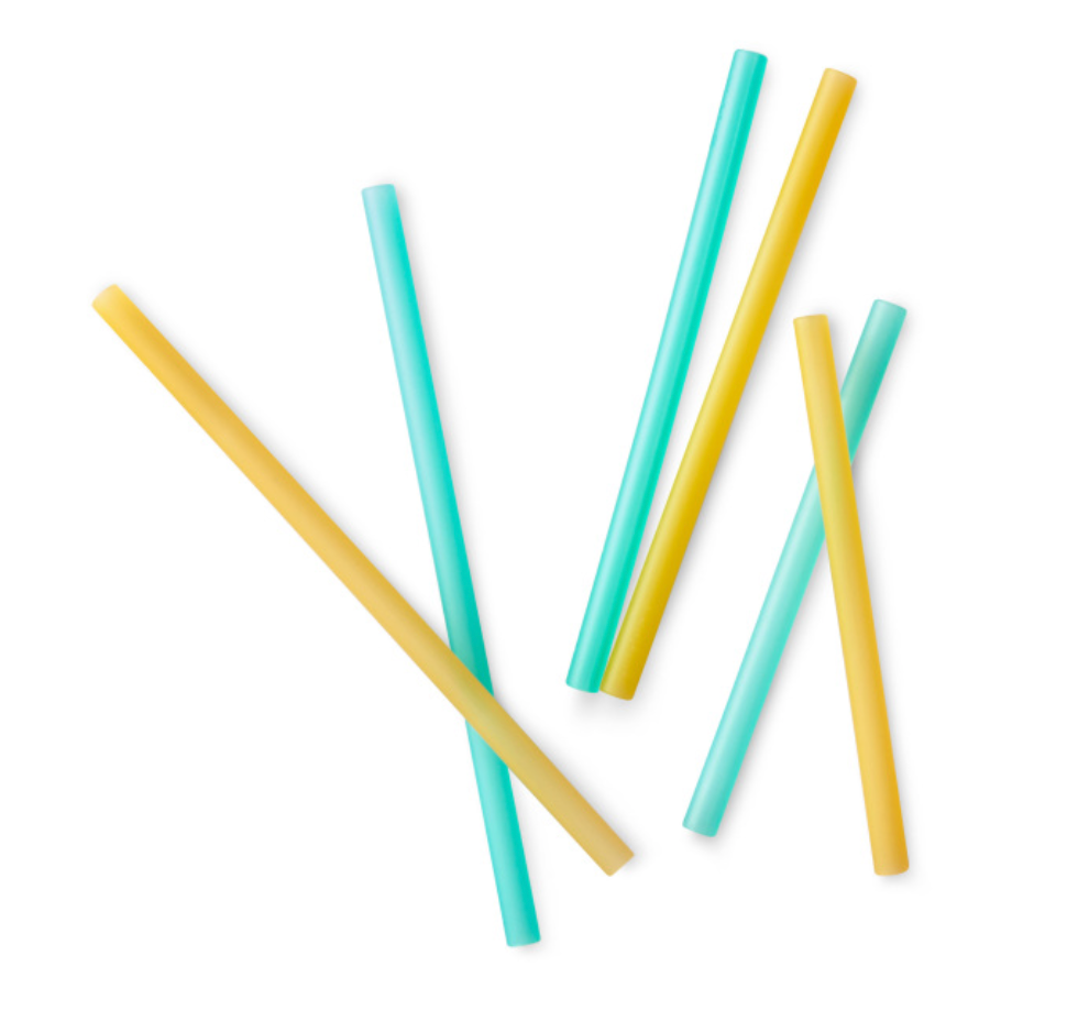 Silikids Reusable Silicone Straws - 6 pack of Different Lengths in Sea & Orange