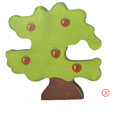 wooden apple tree with 5 painted apples