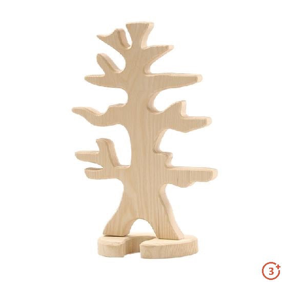 natural wood colour tree carved out of wood with branches for ostheimer birds to perch (sold separately).  Tree has small base support included.