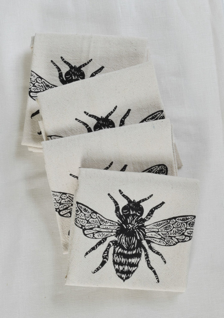 Organic Honeybee Cloth Napkins Set of 4 - Black
