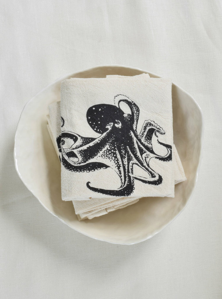 Organic Octopus Cloth Napkins Set of 4 - Black